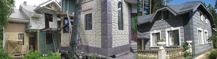 Облицовка дома из газобетона легкими каменными панелями